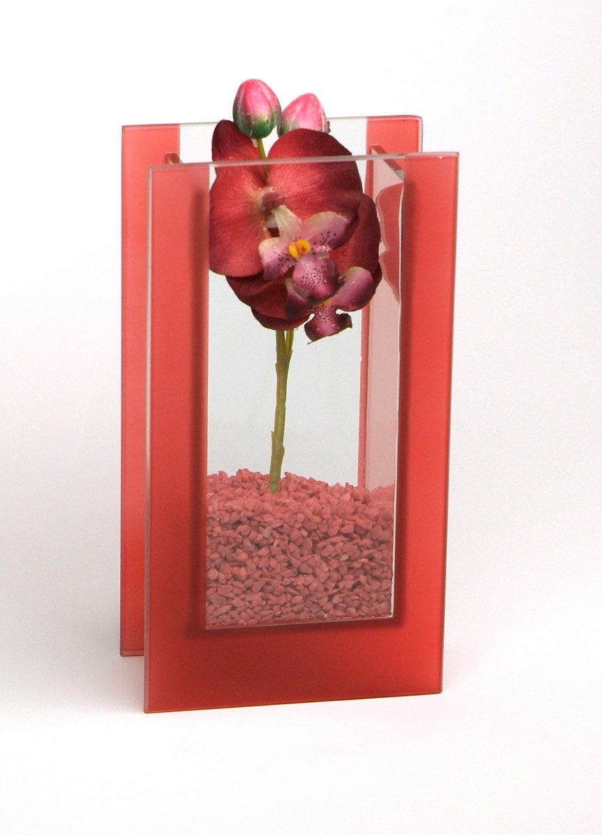 """Glas-Vase """"Orchideen"""" rot"""