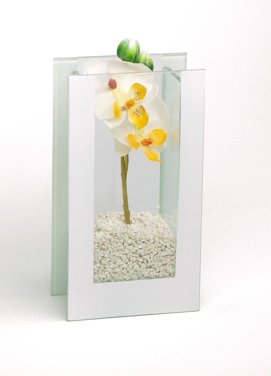 """Glas-Vase """"Orchideen"""" weiß"""