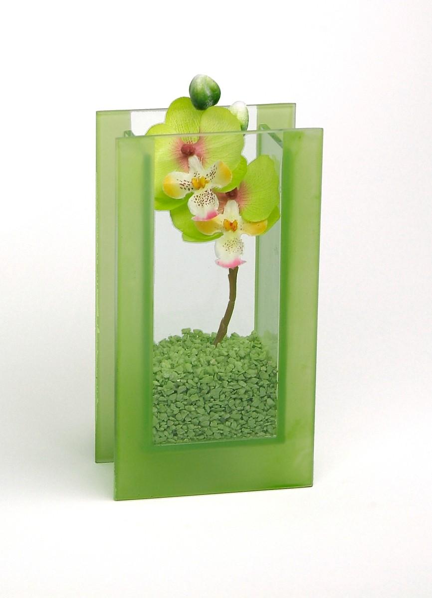 """Glas-Vase """"Orchideen"""" grün"""