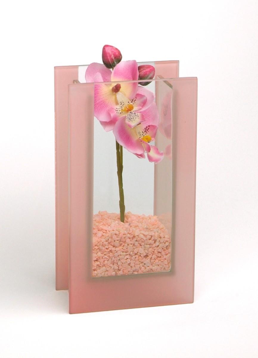 "Glas-Vase ""Orchideen"" rosa"