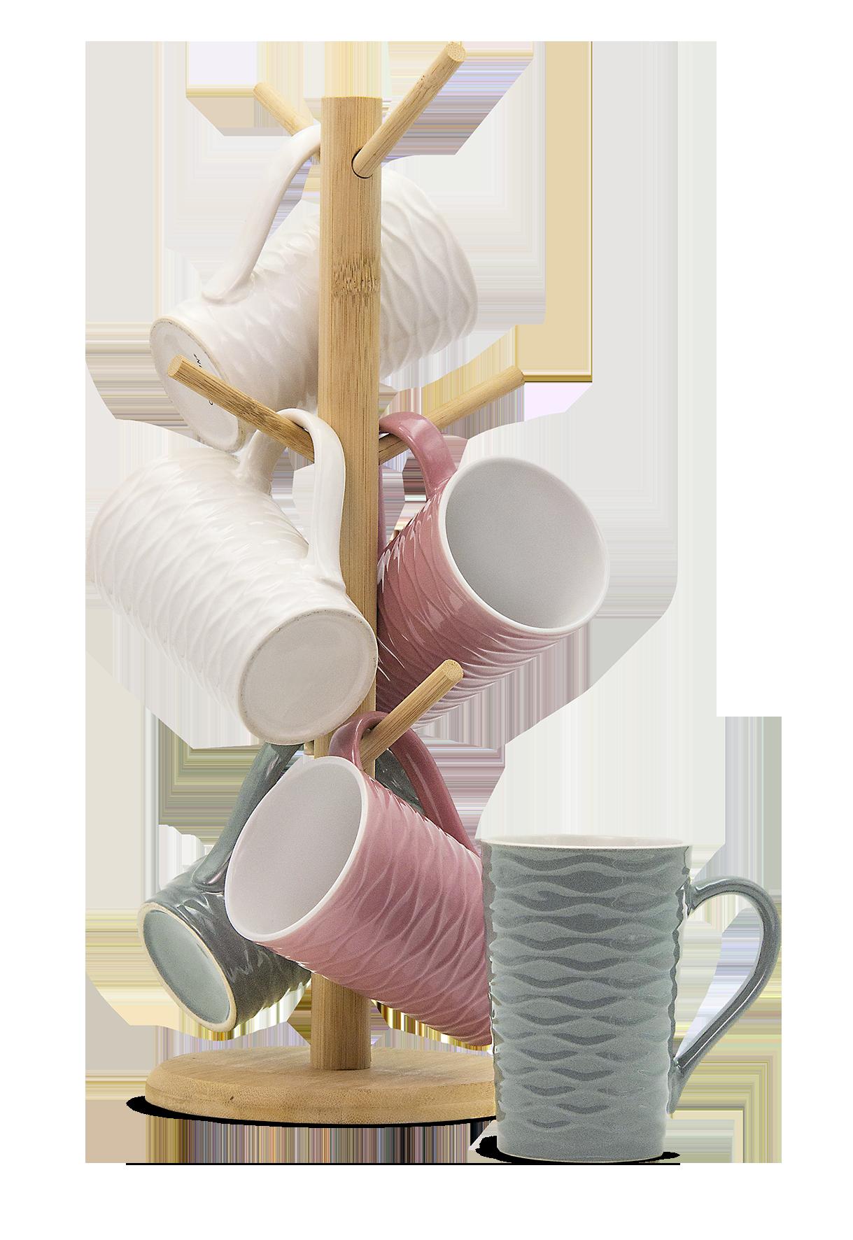 Tassenhalter aus Holz inkl. 6 Keramik-Tassen