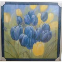 """Bild """"Tulpen"""" in Echtholzrahmen blau"""