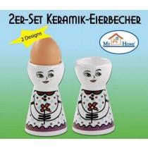 """Keramik Eierbecher """"Fräulein"""", 2er Set"""