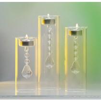 Glaskerzenhalter mit Kristallen
