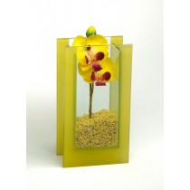 "Glas-Vase ""Orchideen"" gelb"