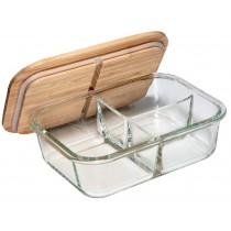 Glas-Vorratsbehälter mit 3-fach Unterteilung und Bambusdeckel