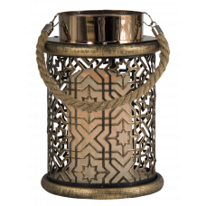 Metall-Laterne mit LED-Kerze, gold