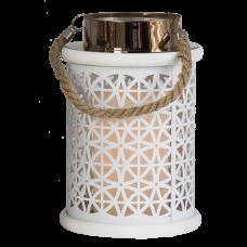 Metall-Laterne mit LED-Kerze, weiß