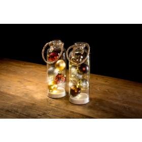 Glasdeko mit LED-Beleuchtung, rot/gold