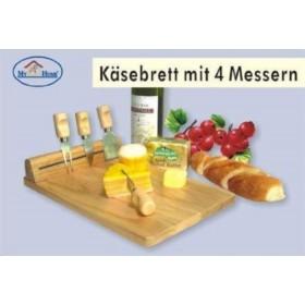 Käsebrett mit 4 Messern
