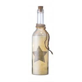 Glasflasche mit LED-Beleuchtung, großer Stern