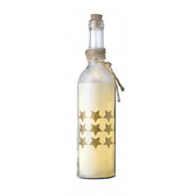 Glasflasche mit LED-Beleuchtung, kleiner Stern