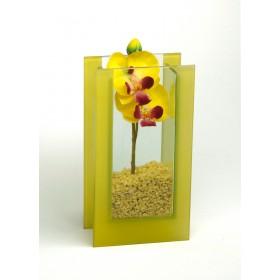 Glas-Vase Orchideen gelb