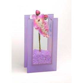 Glas-Vase Orchideen violett
