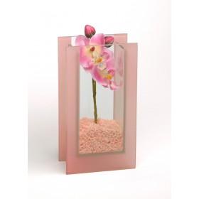 Glas-Vase Orchideen rosa